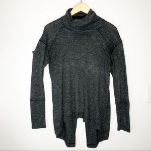 We the Free Gray Turtleneck Sweater Split Back